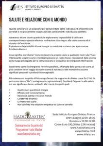 Salute e Relazione con il mondo Seminario Hadoshiatsu Master Hado 2017